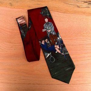 Vintage Resilio Gatsby Scene 100% Silk Necktie